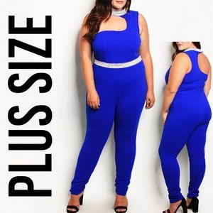 Royal Plus Size Bodycon Embellished Jumpsuit Suit